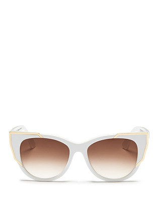 Main View - Click To Enlarge - Thierry Lasry - 'Butterscotchy' angular metal rim acetate cat eye sunglasses