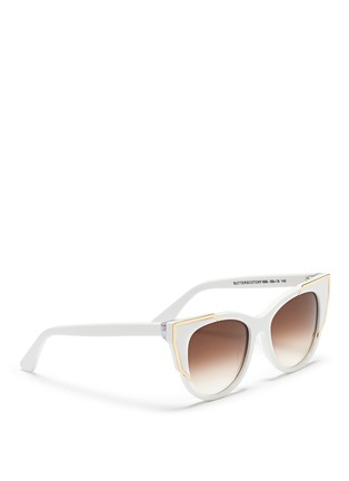Figure View - Click To Enlarge - Thierry Lasry - 'Butterscotchy' angular metal rim acetate cat eye sunglasses