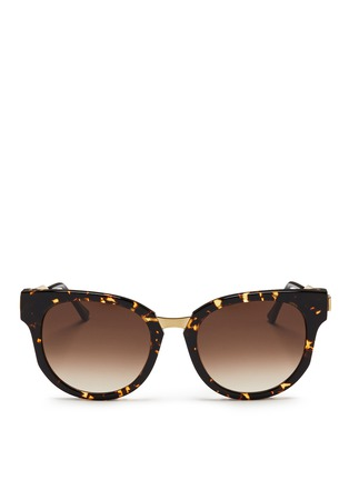 Main View - Click To Enlarge - Thierry Lasry - 'Affinity' metal temple tortoiseshell acetate round sunglasses