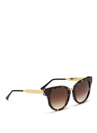 Figure View - Click To Enlarge - Thierry Lasry - 'Affinity' metal temple tortoiseshell acetate round sunglasses