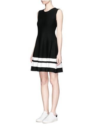 Front View - Click To Enlarge - Mo&Co. - Contrast stripe knit skater dress