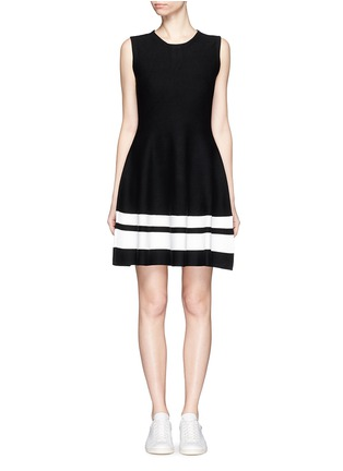 Main View - Click To Enlarge - Mo&Co. - Contrast stripe knit skater dress