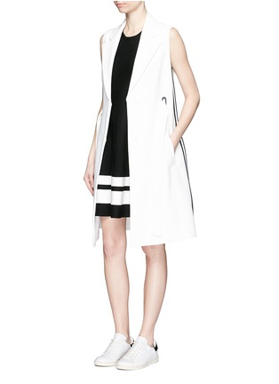 Figure View - Click To Enlarge - Mo&Co. - Contrast stripe knit skater dress