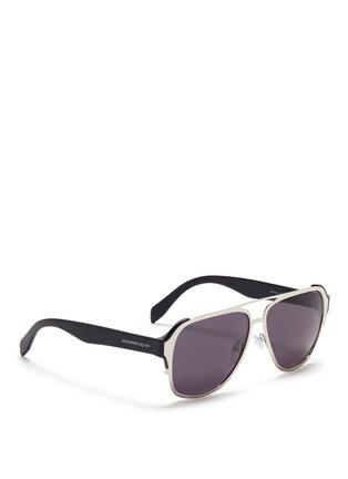Alexander McQueen-Metal front frame acetate aviator sunglasses