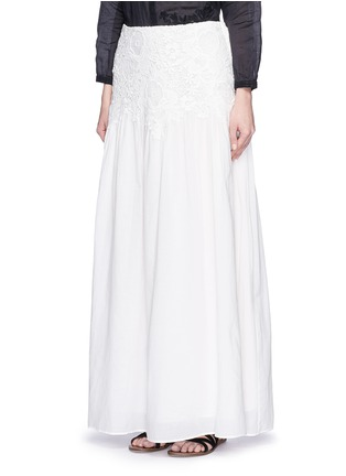 Front View - Click To Enlarge - See by Chloé - Floral lace cotton voile maxi skirt