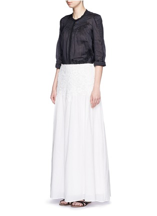 Figure View - Click To Enlarge - See by Chloé - Floral lace cotton voile maxi skirt