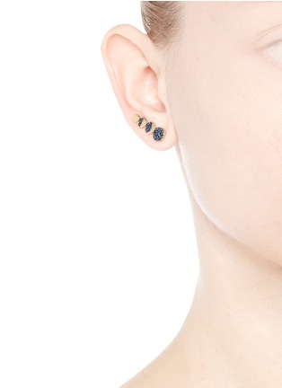 Figure View - Click To Enlarge - Pamela Love - 'Moon Phase' sapphire 18k yellow gold single climber earring