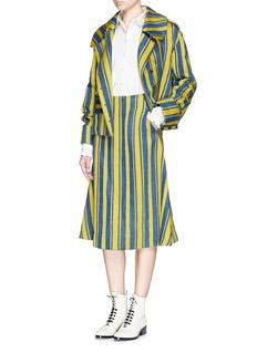 ANGEL CHENBarcode stripe hopsack jacket