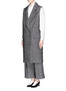 COMME MOI Herringbone wool blend long vest