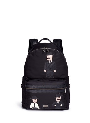 Main View - Click To Enlarge - Dolce & Gabbana - ''Vulcano' Sicilian man appliqué nylon backpack