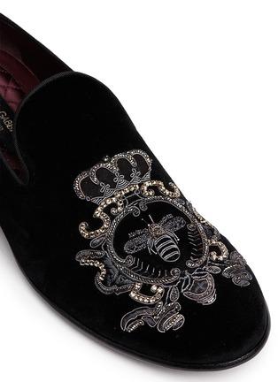 Dolce & Gabbana-Bee embroidery velvet slip-ons
