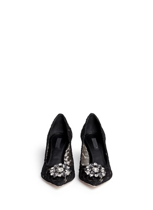 Front View - Click To Enlarge - Dolce & Gabbana - 'Bellucci' jewel brooch lace pumps