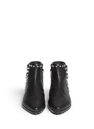 Figure View - Click To Enlarge - Stuart Weitzman - 'Kicky' buckled stud leather boots