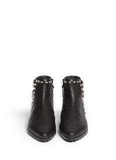STUART WEITZMAN'Kicky' buckled stud leather boots