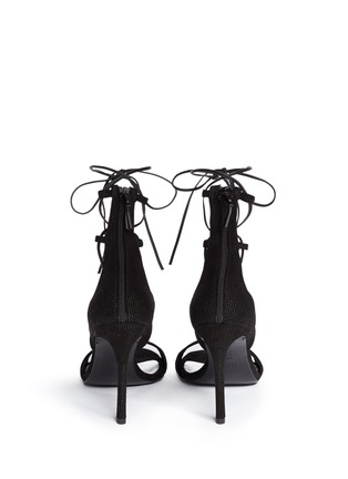 Stuart Weitzman - 'Legwrap' lace-up textured leather sandals