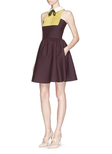 VALENTINOx Celia Birtwell collared bow tie crepe couture flare dress