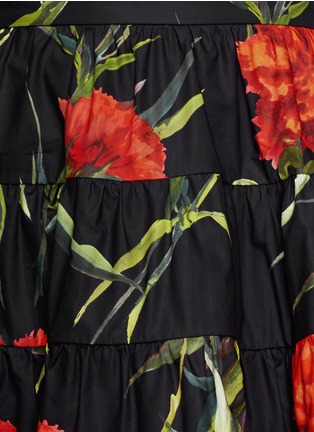 Detail View - Click To Enlarge - Dolce & Gabbana - Carnation print patchwork ruche skirt