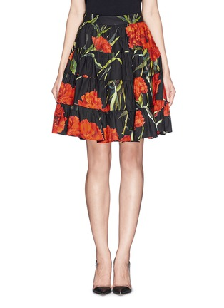 Main View - Click To Enlarge - Dolce & Gabbana - Carnation print patchwork ruche skirt