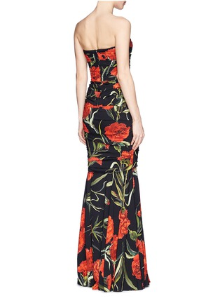 Back View - Click To Enlarge - Dolce & Gabbana - Carnation print drape strapless mermaid gown