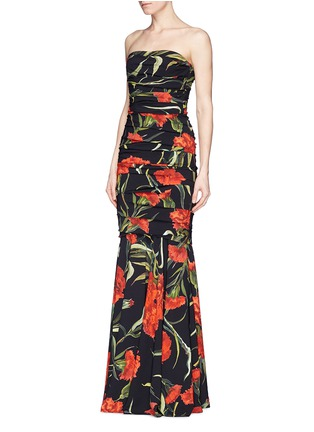 Front View - Click To Enlarge - Dolce & Gabbana - Carnation print drape strapless mermaid gown