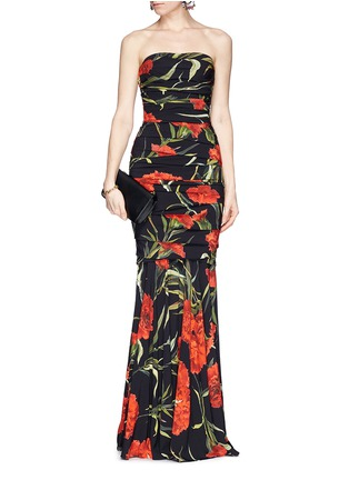 Figure View - Click To Enlarge - Dolce & Gabbana - Carnation print drape strapless mermaid gown