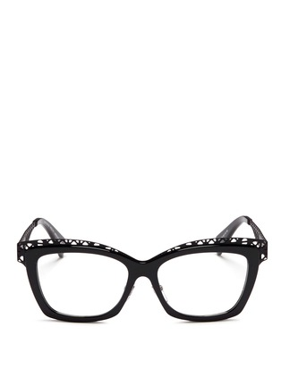 Alexander McQueen-Wavy cutout metal brow bar optical glasses
