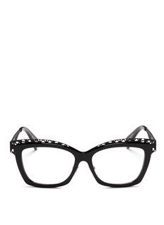 ALEXANDER MCQUEENWavy cutout metal brow bar optical glasses