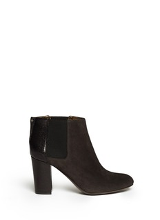 LANVIN Suede and shagreen leather ankle Chelsea boots