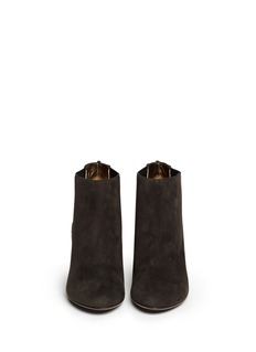 LANVINSuede and shagreen leather ankle Chelsea boots