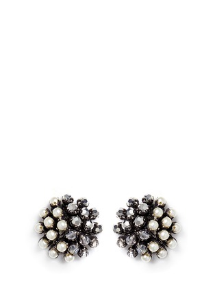 Main View - Click To Enlarge - Miriam Haskell - Crystal pearl clip stud earrings