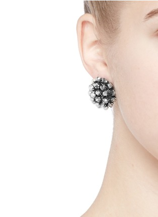 Figure View - Click To Enlarge - Miriam Haskell - Crystal pearl clip stud earrings