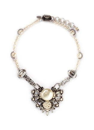 Main View - Click To Enlarge - Miriam Haskell - Pearl crystal station floral pendant necklace