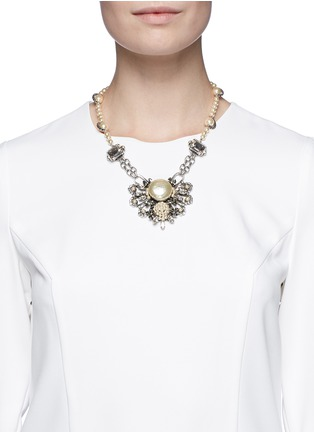 Figure View - Click To Enlarge - Miriam Haskell - Pearl crystal station floral pendant necklace