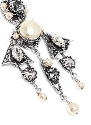 Detail View - Click To Enlarge - Miriam Haskell - Crystal pearl filigree drop earrings