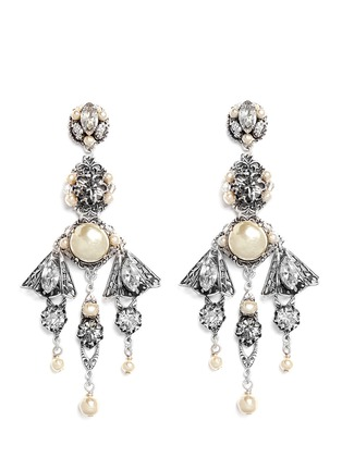 Main View - Click To Enlarge - Miriam Haskell - Crystal pearl filigree drop earrings