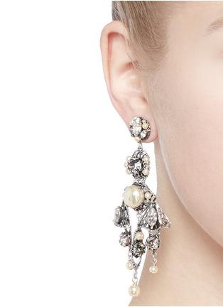 Figure View - Click To Enlarge - Miriam Haskell - Crystal pearl filigree drop earrings