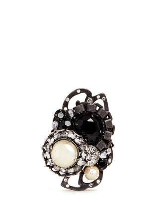 Main View - Click To Enlarge - Miriam Haskell - Crystal pearl crescent ring