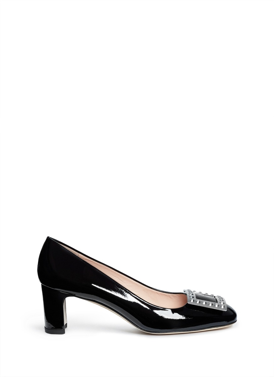 Wowmid crystal buckle patent leather pumps