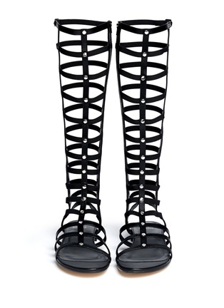 Figure View - Click To Enlarge - Stuart Weitzman - 'Gladiator' knee high caged sandals