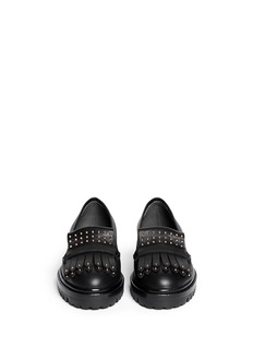 ALEXANDER MCQUEEN Micro stud fringe leather loafers