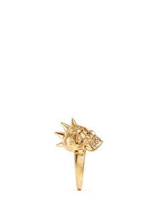 细节 - 点击放大 - ALEXANDER MCQUEEN - 尖钉骷髅头水晶戒指