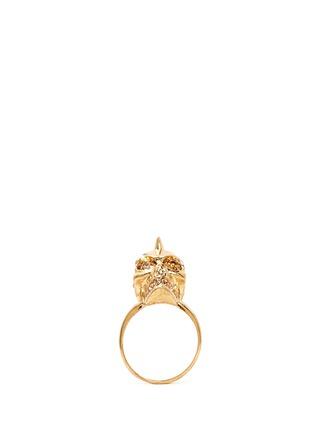 ALEXANDER MCQUEEN-尖钉骷髅头水晶戒指