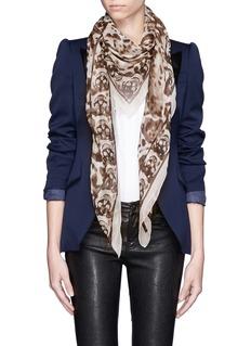 ALEXANDER MCQUEENLeopard and skull print silk scarf