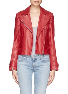 WHISTLES'Tex' lamb leather cropped biker jacket