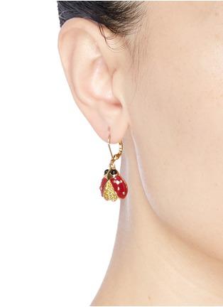 Figure View - Click To Enlarge - Kenneth Jay Lane - Enamel ladybird drop earrings