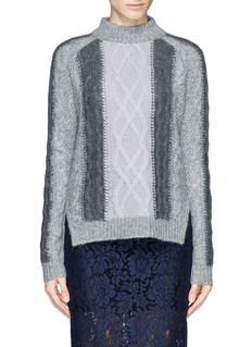 WHISTLES 'Akira' colourblock cable knit sweater