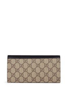Gucci 'Peony' logo faux pearl canvas continental wallet