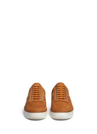 Front View - Click To Enlarge - Neil Barrett - 'City Basketball' low top nubuck leather sneakers