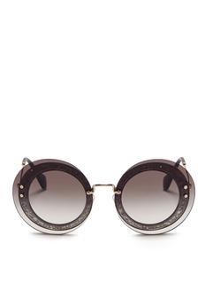 miu miuMounted lens glitter acetate round sunglasses