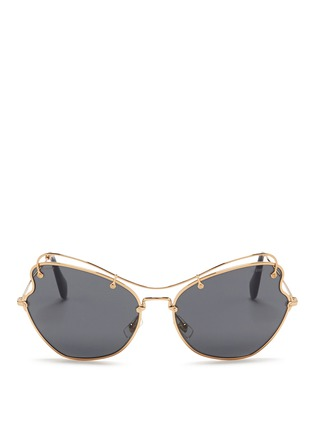 Main View - Click To Enlarge - miu miu - 'Scenique' butterfly wave metal sunglasses